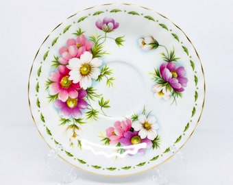 "Orphan Saucer, Royal Albert ""Cosmos"", October Flower of the Month Series, Replacement Saucer Only, No Tea Cup"