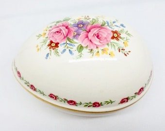 Sadler Trinket Box with Pink Roses and Gold Trim, Gift for Her