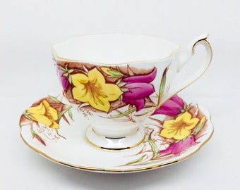 Queen Anne Tea Cup and Saucer with Pink and Yellow Flowers, Vintage Fine Bone China