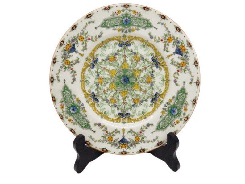 Royal Worcester Salad Plate, Canopic, Green Panels, Blue Urns, Enamel, Tan  Trim, Hand-painted, Pattern 3319, 7 75 Inches