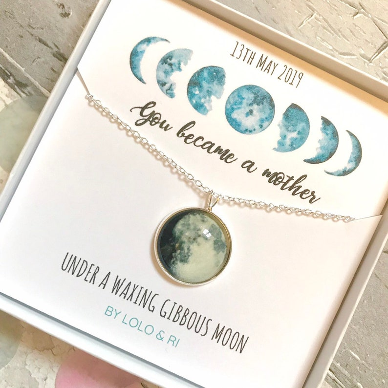 Sterling Silver Custom Moon Phase Necklace New Mum Gift image 0