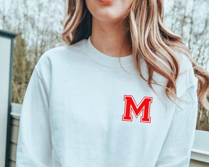 Custom Name Sweatshirt Personalised Varsity Sweatshirt Custom Varsity Initial Jumper Women/'s Sports Letter Top Women/'s Sweatshirt