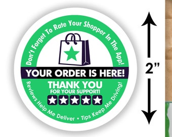 "2""x2"" - 5 Stars - Delivery Bag Stickers - 20 Stickers Per Sheet- Food Delivery - Shipt Colors"