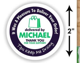 "Personalized! 2""x2"" [Tips Keep Me Driving] Delivery Bag Stickers - 20 Stickers Per Sheet Shipt Colors"