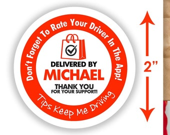 """Personalized! 2""""x2"""" """"Tips Keep Me Driving"""" Delivery Bag Stickers - 20 Stickers Per Sheet- Food Delivery - DoorDash"""