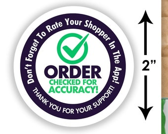 """Shipt 2""""x2"""" Delivery """"Order Checked For Accuracy"""" Bag Stickers - 20 Stickers Per Sheet- Food Delivery"""