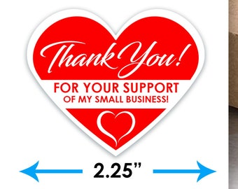 "Thank You For Your Support Of My Small Business 2.25"" Wide Stickers - 15 Stickers Per Sheet- Food Delivery"