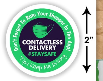 "2""x2"" Contactless Delivery Bag Stickers - 20 Stickers Per Sheet- Food Delivery Shipt Colors"
