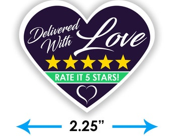 """2.25"""" [Delivered With Love] Delivery Bag Stickers - 15 Stickers Per Sheet- Food Delivery - Shipt Colors"""