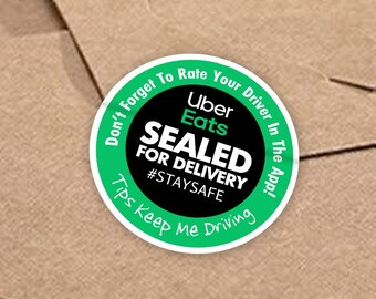 """Uber Eats 2""""x2"""" (Sealed For Delivery) Box/Bag Stickers - 20 Stickers Per Sheet- Food Delivery"""