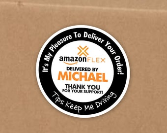 """Personalized! Amazon FLEX 2""""x2"""" (Tips Keep Me Driving) Delivery Stickers - 20 Stickers Per Sheet"""