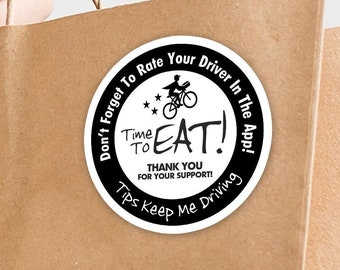 """Postmates 2""""x2"""" """"Tips Keep Me Driving"""" Delivery Bag Stickers - 20 Stickers Per Sheet- Food Delivery"""