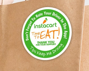 """Instacart 2""""x2"""" """"Tips Keep Me Driving"""" Delivery Bag Stickers - 20 Stickers Per Sheet- Food Delivery"""