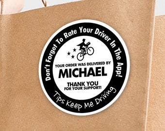 """Personalized! Postmates 2""""x2"""" """"Tips Keep Me Driving"""" Delivery Bag Stickers - 20 Stickers Per Sheet- Food Delivery"""