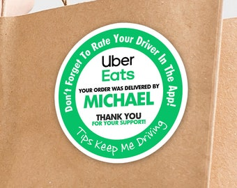 """Personalized! Uber Eats 2""""x2"""" """"Tips Keep Me Driving"""" Delivery Bag Stickers - 20 Stickers Per Sheet- Food Delivery"""