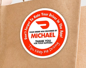 """Personalized! Doordash 2""""x2"""" """"Tips Keep Me Driving"""" Delivery Bag Stickers - 20 Stickers Per Sheet- Food Delivery"""