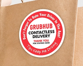 """Grubhub 2""""x2"""" Contactless Delivery Bag Stickers - 20 Stickers Per Sheet- Food Delivery"""