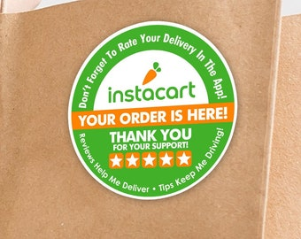 """Instacart 2""""x2"""" - 5 Stars - Delivery Bag Stickers - 20 Stickers Per Sheet- Food Delivery"""
