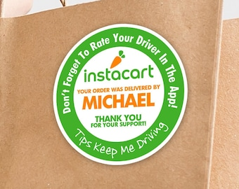 """Personalized! Instacart 2""""x2"""" """"Tips Keep Me Driving"""" Delivery Bag Stickers - 20 Stickers Per Sheet- Food Delivery"""