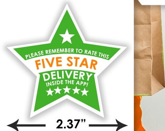 "Instacart STAR 2.37"" [5 STAR DELIVERY] Delivery Bag Stickers - 12 Stickers Per Sheet- Food Delivery"