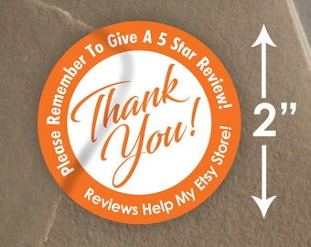 "2"" Thank You - Review Mail Stickers - 20 Stickers Per Sheet - Glossy"