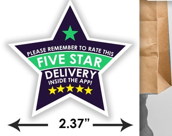"STAR 2.37"" [5 STAR DELIVERY] Delivery Bag Stickers - 12 Stickers Per Sheet- Food Delivery Shipt Colors"