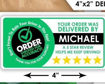 """Personalized! Uber Eats 4""""x2"""" 5 Star Rating Delivery Bag Stickers - 10 Stickers Per Sheet- Food Delivery"""