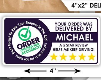 "Personalized!  4""x2"" 5 Star Rating Delivery Bag Stickers - 10 Stickers Per Sheet- Food Delivery Shipt Colors"