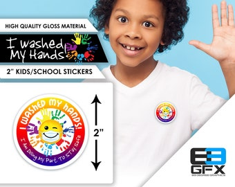 "I Washed My Hands - School/Kids Reward Stickers - 2"" Sticker Sheets"