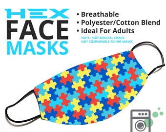HEX Style - Autism Awareness - Face Cover - Multiple Styles Available