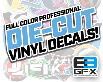 Water Resistant! Custom Stickers - Die Cut Vinyl or Glossy Paper Stickers - Not Inkjet Paper! Custom cut to your logo shape! NO MINIMUMS!