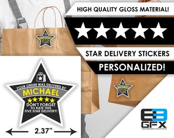 """Postmates PERSONALIZED Star 2.37"""" [5 STAR DELIVERY] Delivery Bag Stickers - 12 Stickers Per Sheet- Food Delivery"""