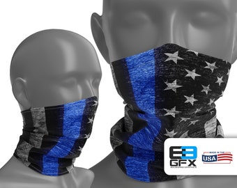 Thin Blue Line - Police Support - Neck Gaiter - Face Cover - Multiple Sizes!