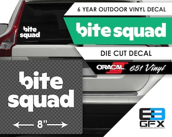 "8"" Wide Bite Squad Delivery Vinyl Die Cut Decal - Food Delivery"
