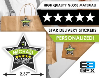 """Waitr PERSONALIZED Star 2.37"""" [5 STAR DELIVERY] Delivery Bag Stickers - 12 Stickers Per Sheet- Food Delivery"""