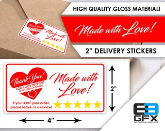 "Made With Love - Package, Mailer, Product Stickers 4""x2"" - 10 Stickers Per Sheet"
