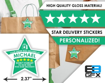 """Bite Squad PERSONALIZED Star 2.37"""" [5 STAR DELIVERY] Delivery Bag Stickers - 12 Stickers Per Sheet- Food Delivery"""
