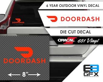 """8"""" Wide Doordash Delivery Vinyl Die Cut Decal- Food Delivery"""