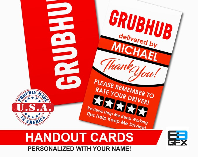 Grubhub - Personalized - Handout Cards - Business Cards - Matte Or Glossy