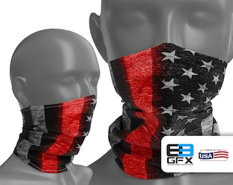 Thin Red Line - Firefighter Support - Neck Gaiter - Face Cover - Multiple Sizes!