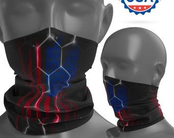 Electric USA Flag - Patriotic - Neck Gaiter - Face Cover - Multiple Sizes!