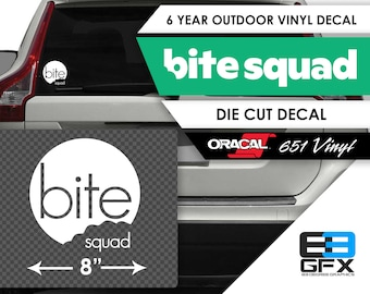 """8"""" wide Bite Squad Delivery Vinyl Die Cut Decal - Food Delivery"""
