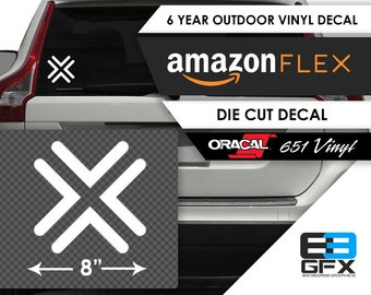 "8"" wide Amazon FLEX ""X"" White Vinyl Decal/Sticker- Food Delivery"