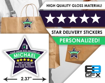 """Shipt PERSONALIZED Star 2.37"""" [5 STAR DELIVERY] Delivery Bag Stickers - 12 Stickers Per Sheet- Food Delivery"""