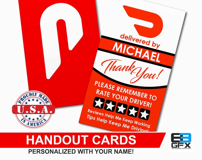 Doordash - Personalized - Handout Cards - Business Cards - Matte Or Glossy