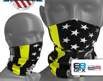 Thin Yellow Line - Dispatch Support - Neck Gaiter - Face Cover - Face Mask - Multiple Sizes!