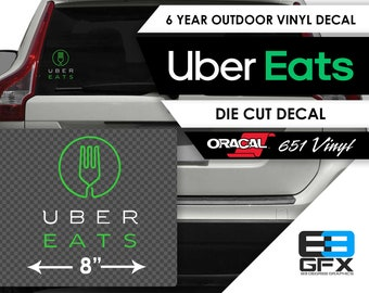 """8"""" wide Uber Eats Delivery Vinyl Die Cut Decal  - Green- Food Delivery"""