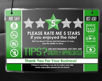 Uber LYFT Driver Car Seat Headrest Rating & Tip Signs (Pair of 2) V2 - GREEN