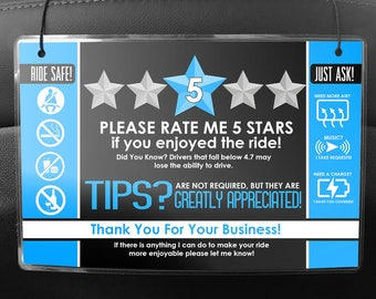 Uber / Lyft Headrest Seat Back Signs - Pair of 2 - 5 Star Ratings & Tips - Multiple Colors Available