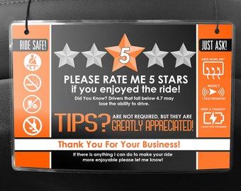 Uber LYFT Driver Car Seat Headrest Rating & Tip Signs (Pair of 2) V2 - ORANGE